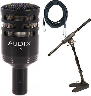 Audix D6 Bass Drum Live/Studio Cardioid Microphone Bundle w/Stand and Cable