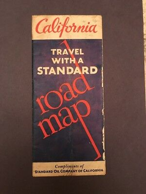 Vintage 1933 Standard Oil Company Road Map Of California