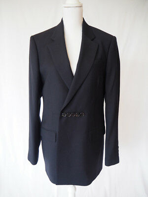 RAF SIMONS dark blue wool mix blazer horizontal closure NEW size 48 $$$$