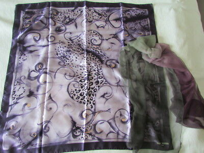 Silk Scarf Lot Animal Print new Heavy Satin Italy  Abstract  Mark Rozier Paris