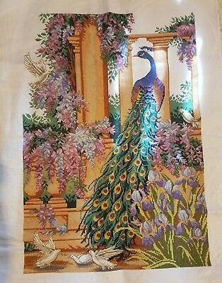 Peacock completed cross stitch 68 x 50cm make an offer