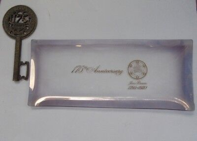 RARE JIM BEAM 175th ANNIVERSARY PLATE AND KEY ISSUED 1970 ONLY FOR STAFF IN USA