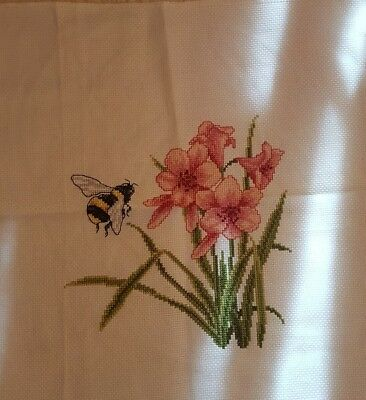 Beautiful bee and flower completed cross stitch make an offer