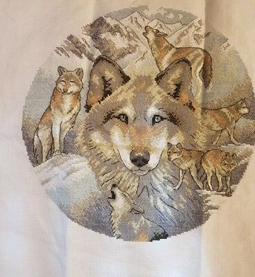 Circle of wolves  completed cross stitch 39 x 39cm make an offer