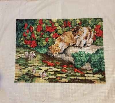 Kitten Reflections completed cross stitch 18 x 13cm make an offer