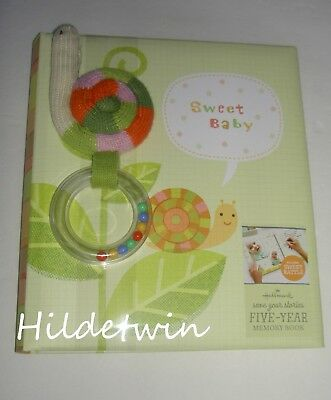 Hallmark Sweet Baby Memory Book Album Five Year Snail Rattle New