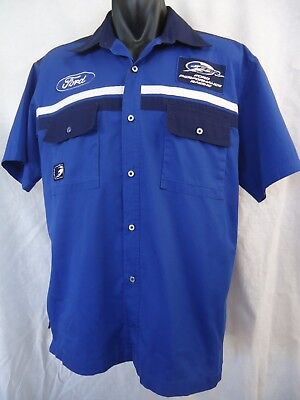 FORD SHIRT Size L Blue Performance Racing FPR Short Sleeves Dual Pockets #4560