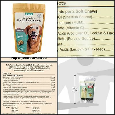 Omegas for Dogs, 120 ct Soft Chews NaturVet  Wellness Hip  Joint Advanced Plus