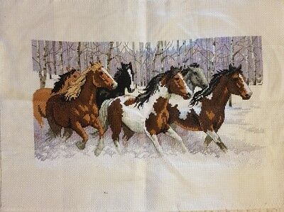 Beautiful horses completed cross stitch 31 x 46cm make an offer