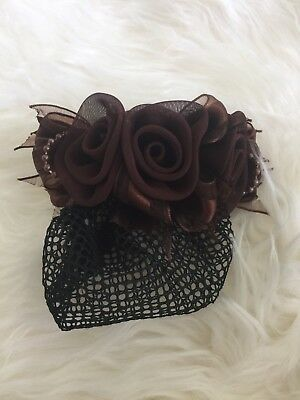 Chocolate Victorian Style Mesh Chiffon Satin Beaded Clip Snood - Medium