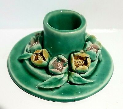 1930s Australian Pottery School Candle Stick Holder with Applied Flowers