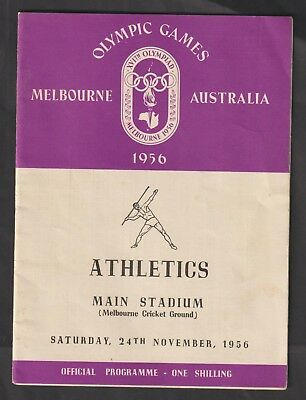 MELBOURNE 1956 OLYMPIC GAMES ATHLETICS PROGRAMME. SATURDAY NOV. 24th. UNUSED