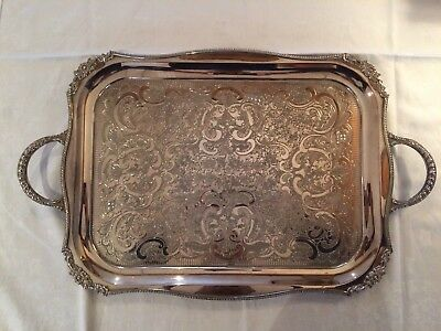 Antique Viners Of Sheffield Alpha Plate Silver Tray