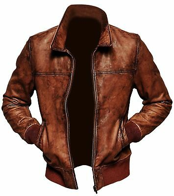 Men's Biker Motorcycle Vintage Brown Distressed Classic Leather Jacket
