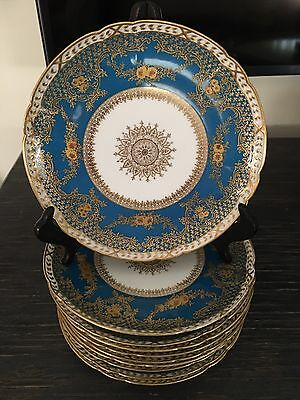Antique French Limoges Raised Gold Encrusted And Enamel Set Of 10 Cabinet Plates