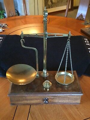 Antique Vintage Tall Brass Balance Scales on Wooden base