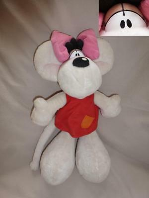 Peluche Doudou Diddl Diddlina robe rouge, noeud rose, poche orange TBE 35cm