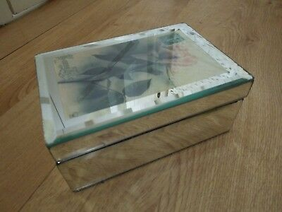 Vintage Style Storage Lidded Box. Laura Ashley Home. Glass. Rose Image on Lid