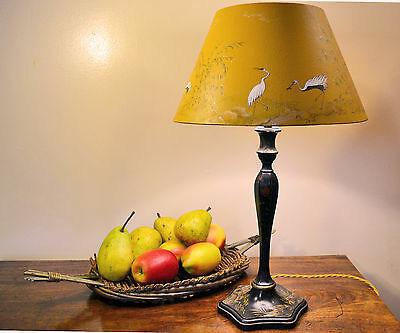 Early 20th century chinoiserie lamp lacquered cranes bamboo painted lampshade