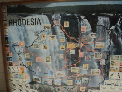 Rhodesia stamps print in wooden frame