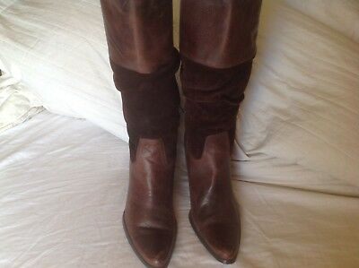 Cute Brown leather slouch Cowboy boots size 9