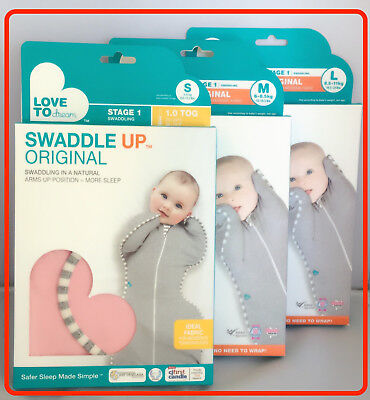 ❤ Love to Dream Swaddle WRAP ME UP Original Baby Pink Grey Blue White 1.0 TOG ❤