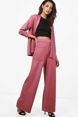 Gorgeous Pink Two Piece Wide Leg Trouser Suit Size 10 (Boohoo)