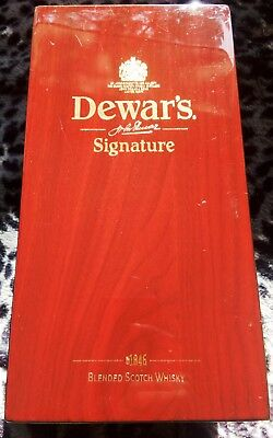 Dewar's Display Wooden Box Cherry Finish SIGNATURE Blended Scotch Whisky Empty