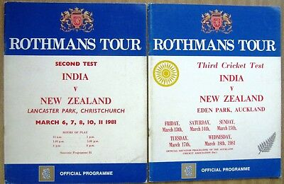 1981 Test Cricket Tour Programmes: INDIA  vs  NEW ZEALAND  2nd & 3rd Tests