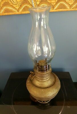 Antique Juno kerosene large oil lamp (1890's/ Made in USA). Unpolished - Chip