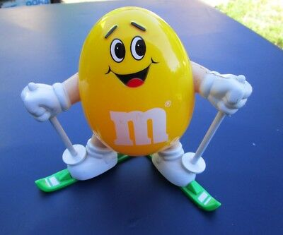 Vintage M&m Plastic Guy On Skis Yellow Collectable
