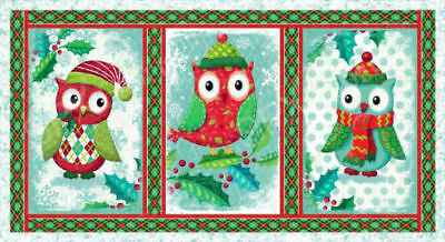 "Fabric Panel ""Owl Be Home For Christmas"" Quality 100% Cotton Fabric (112cmx62cm)"