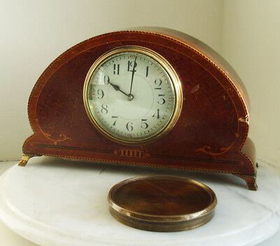 An Edwardian Mahogany Inlaid Mantel Clock Brass Feet