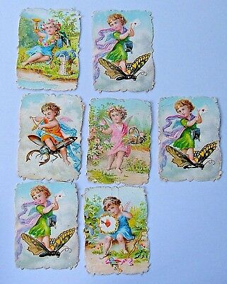 VICTORIAN SCRAPS - 7 CHERUBS - 5 different   4.5 x 3 cms c.1880s