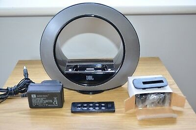 JBL Radial Micro iPod dock (30 pin) with remote, PSU and accessories.