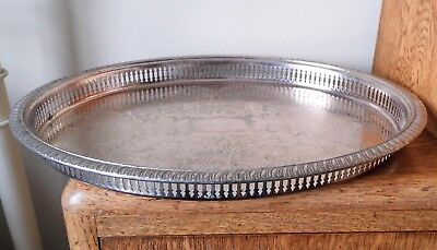 LARGE VINTAGE 1960s ORNATE SHEFFIELD SILVER PLATED OVAL PIERCED GALLERY TRAY