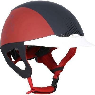 Fouganza Horse Riding Safety Helmet Comfort Ventilated Auto Adjust Navy Blue-Red