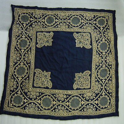 amazing vintage Islamic blue silk embroidery table cloth or shawl