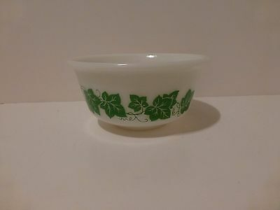 Vintage Hazel Atlas 7 inch White Mixing Bowl with Green Ivy Leaves    (S7