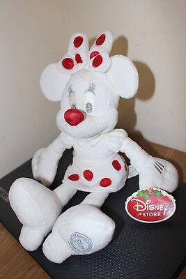 Disney Store White Minnie Mouse Soft Toy Plush Cuddly Toy Teddy RARE