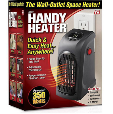220V 350W Portable Wall-Outlet Electric Heater Fan Handy Air Warmer Silent #~QP