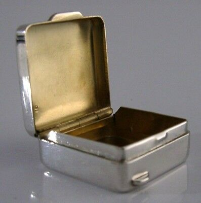 Quality Modernist English Sterling Silver Pill Box London 2006