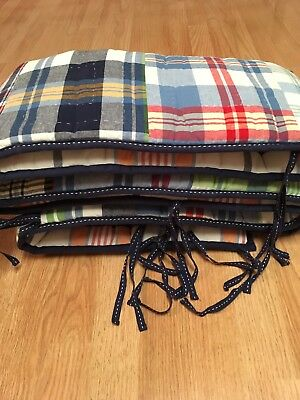 Pottery Barn Kids Bumper Pad for crib in MADRAS PLAID Red Blue Multi