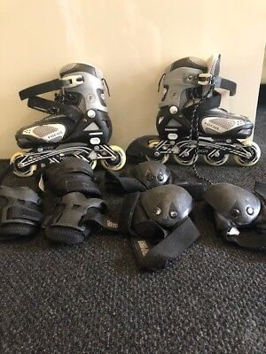 Focus Softec Adjustable Kids Rollerblades and protective pad kit