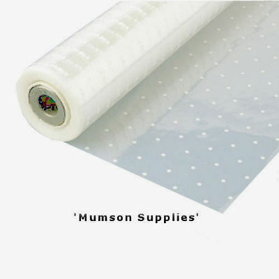 White Dot Cellophane (Food Safe) Gift Wrap 1m - 40m Folded or Rolled 80cm Wide