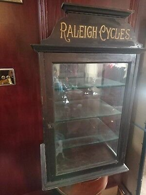 Antique Advertising Vintage Shop Display Cabinet Raleigh Cycles suit toys models