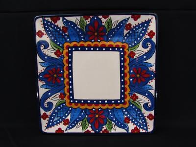 Toluca by Tabletops Unlimited Dinner Plate Red Flowers Blue Scrolls BRAND NEW