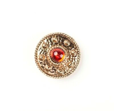 30mm Round Vintage Red Jewel Gold Decorative Button Covers (Clip-on)