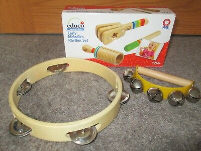 Educo Wooden Musical Instruments with Tambourine and Hand Bell Shaker