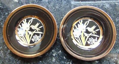 Pair of Chokin 40mm Small Plates With Decorative Butterfly Design Good Condition
